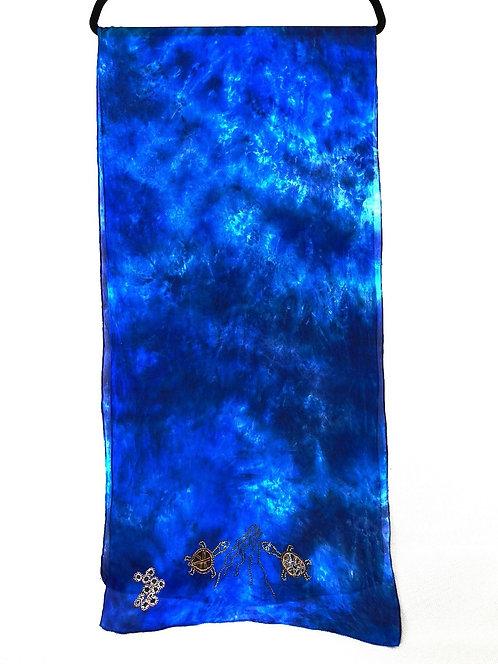 Blue Silk with Turtle Design