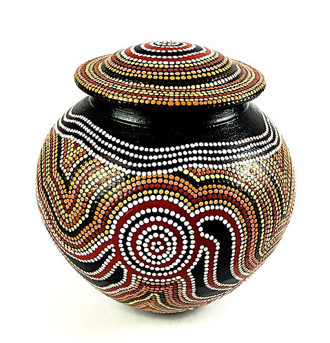 Hand Painted Pot With Lid