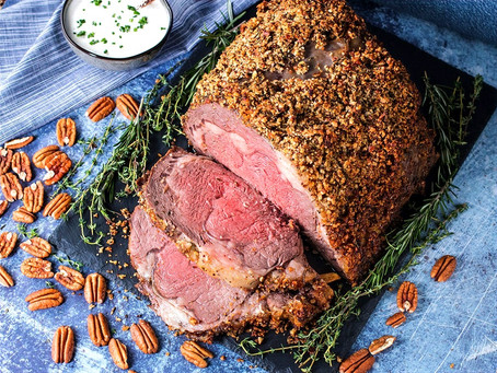Pecan-Crusted Prime Rib with Horseradish Cream Sauce