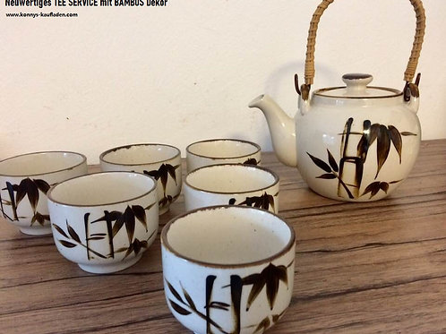 Neuwertiges TEE SERVICE handbemalt mit Bambus Dekor beige/ braun