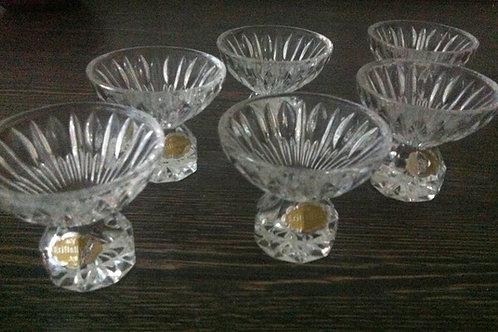 6 KRISTALL GLASSchnapsgläser mit goldenem Etikett -TOP ZUSTAND