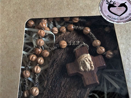 Holz ROSENKRANZ braun neuwertig 35 cm mit BOX