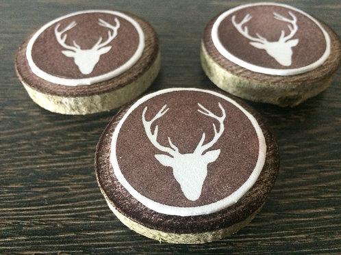 Handmade Magnet mit Hirsch Hirsch Motiv auf Holzscheibe 3 Stück