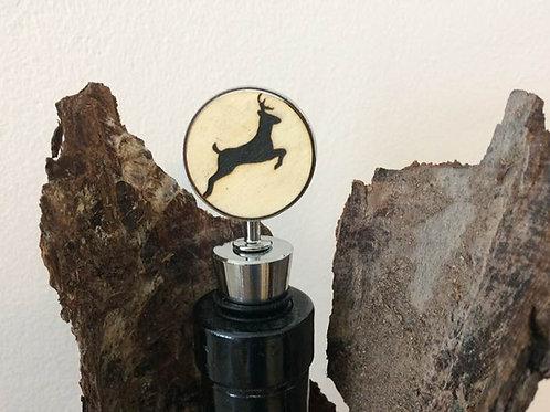 Handmade Weinflaschen Verschluss  HIRSCH Lasergravur 10,5 c