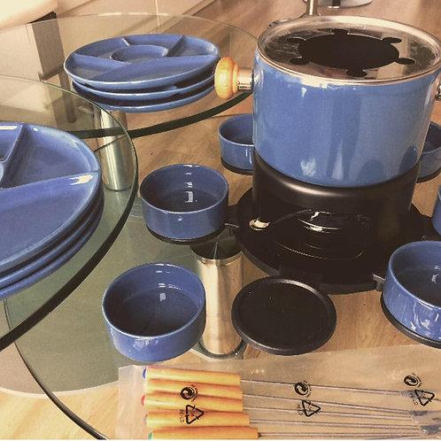 Vintage FONDUE SET NEU taubenblau 27 teilig unbenutzt ohne OVP