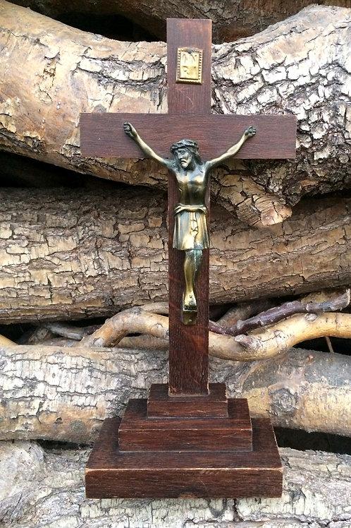 1 älteres STANDKREUZE Kreuz Metall Holz  30 cm