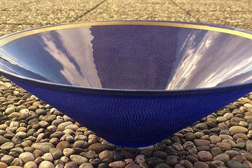 Vintage GLAS SCHALE Schüssel violett mit Goldrand