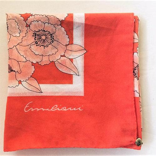 Schal Tuch von EMILIANI mit BLUMEN Print orange weiß 85 x82 cm