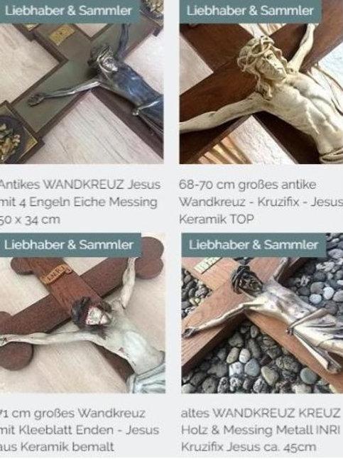 VIER antike Wandkreuz Kreuz Keramik Metall45 cm 50 cm + 68 cm + 71 cm