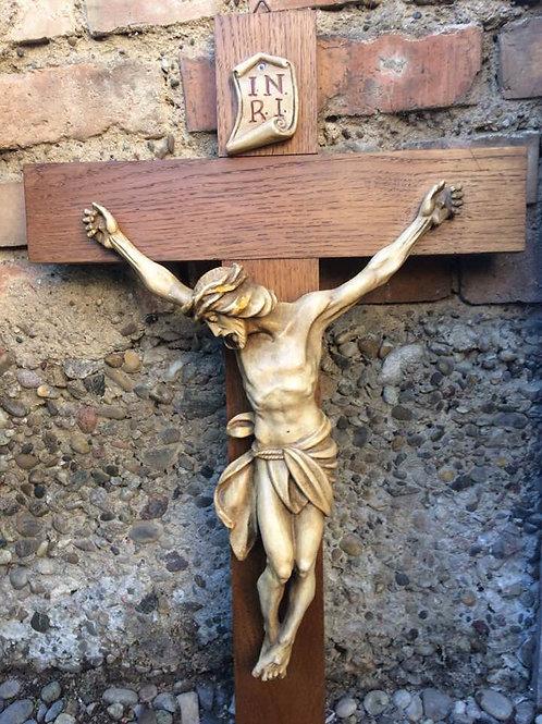 Altes WANDKREUZ Holz Kruzifix 70 cm Heiland aus Keramik