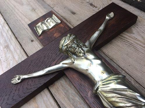 Holz Wand Kreuz mit Metall HEILAND aus Altötting 50 cm, 40 er Jahr
