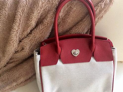 JAKE*S Handtasche rot - creme - genarbtes Leder &  Leinen NEU ohne Etikett