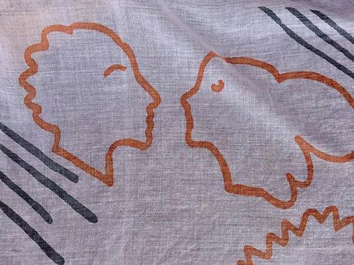 NEUWERTIGESTuch by ARTIPRESENT 100 % Baumwolle abstrakte Köpfen weiß orange grau