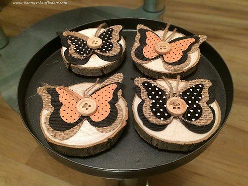 DEKO Magnete SCHMETTERLING Butterfly auf ECHTHOLZ Scheibe- 4 Stück