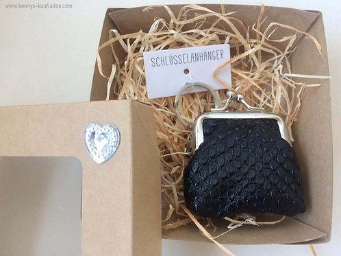 Schlüsselanhänger mit süßer kleiner Geldbörse schwarz Lederoptik mit BOX