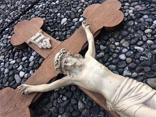 80cm großes antike Wandkreuz Kleeblatt Enden Kreuz Jesus Keramik