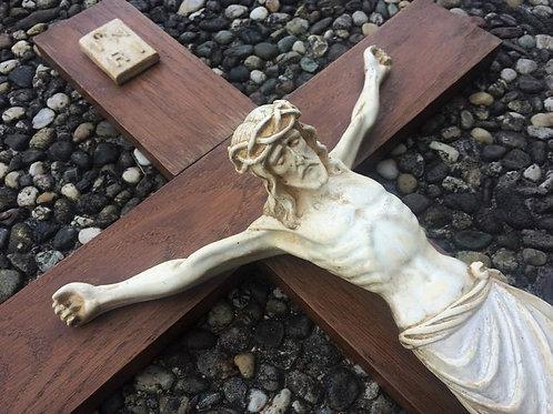 fast 70 cm großes antike Wandkreuz - Kruzifix - Jesus Keramik TOP