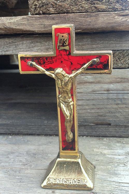 Kleines STANDKREUZ mit Jesusfigur , INRI & JERUSALEM - Messing & Emaille - 15 cm