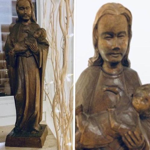 MARIA STATUE mit JESUS KIND 40 cm  handgeschnitzt signiert 1976