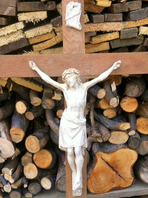 Altes Holz WANDKREUZ mit HEILAND aus KERAMIK 80 x 40 cm