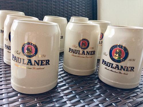 9 neuwertige Bierkrüge Humpen PAULANER Brauerei München grau 0,5 l