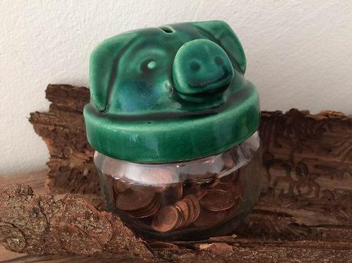 SPARSCHWEIN Glas mit Schraubverschluss Schwein GRÜN Vintage
