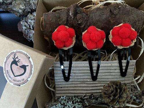 Handmade BOLLENHUT Haar Klammer Clip 3 St in GESCHENKBOX