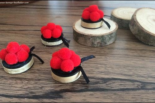 4 kleine BOLLENHUT Deko Magnete je 2,5 cm + Tasche mit Klammer