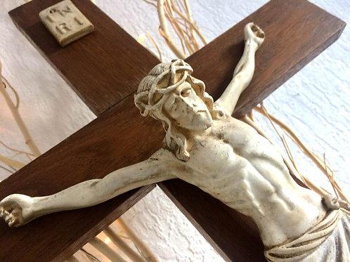 68-70 cm großes antike Wandkreuz - Kruzifix - Jesus Keramik TOP