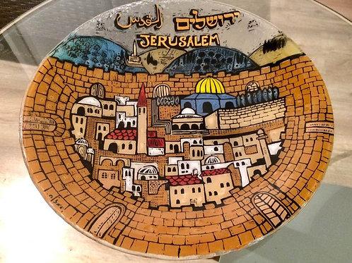 NAHARIYA Glaskunst Schmelzglas Schale byANDREAS MEYER JERUSALEM Altstadt