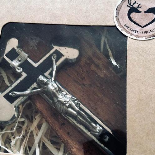 Altes Sterbekreuz Soldatenkreuz Grabbeigabe Kleeblatt silber/ schwarz 13,5 cm