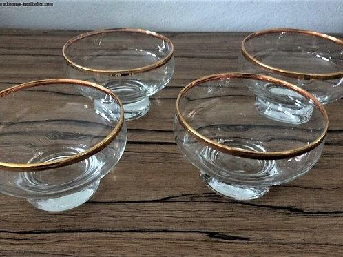 4 er Set Eis Dessert Schalen Schüsseln Glas Goldrand Vintage