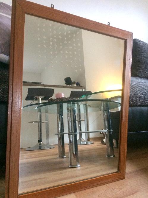 Alter, hochwertiger Spiegel mit Echtholz-Rahmen ca. 66 x 52 cm