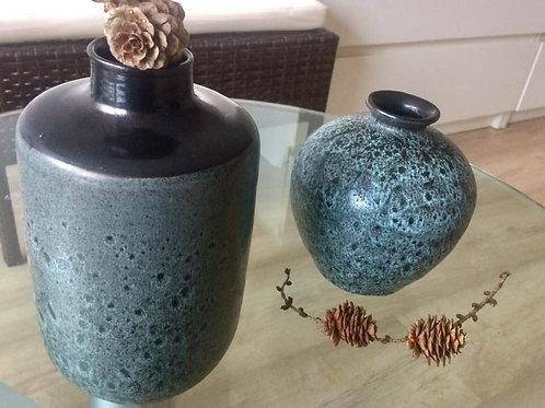 2 VINTAGE Vasen JÜRGEL Keramik - Elstra - Handarbeit germarkt 17 + 13cm