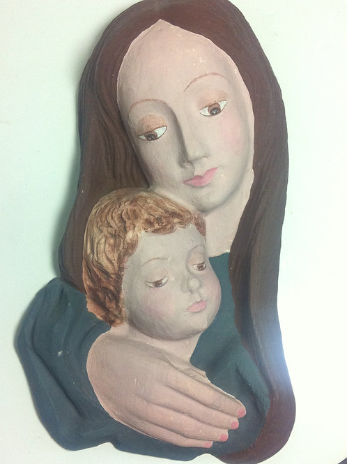 Wand Skulptur MADONNA & JESUS KIND aus GIPS