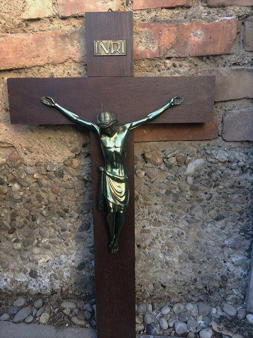 WANDKREUZ Kreuz Kruzifix 70 cm antik HOLZ & METALL