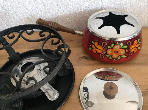 BEKA Vintage FONDUE T Set aus Emaille mit BLUMEN Dekor70 er