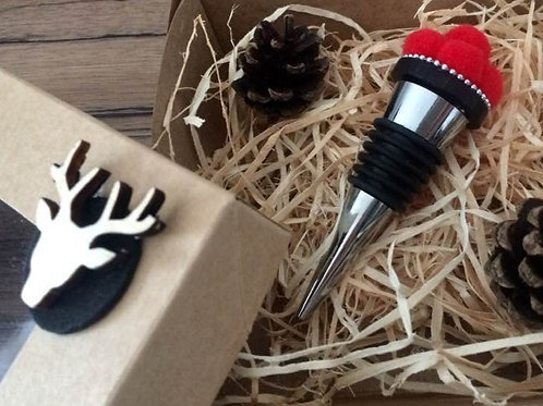 Handmade Flaschen Stopper Verschluss BOLLENHUT mit HIRSCH BOX