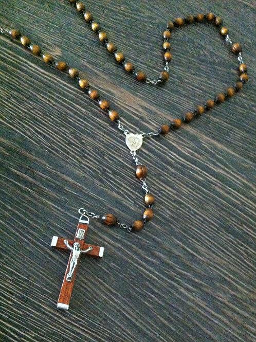 Alter ROSENKRANZ - ovale Perlen aus Holz - Heiland aus Metall/Silber