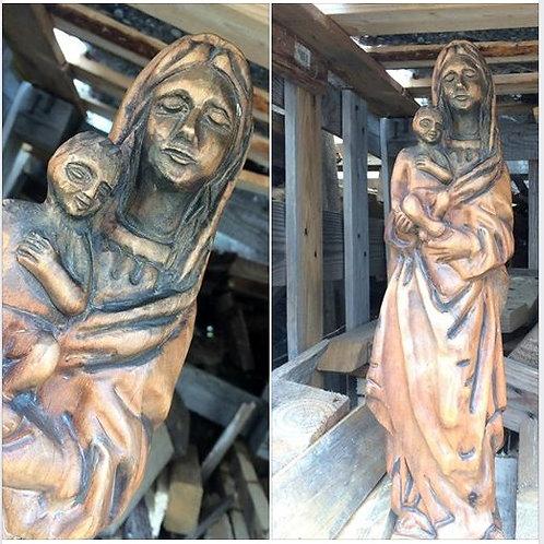 Alte HOLZSCHNITZEREI - Madonna mit Jesuskind - ca. 44 cm hoch