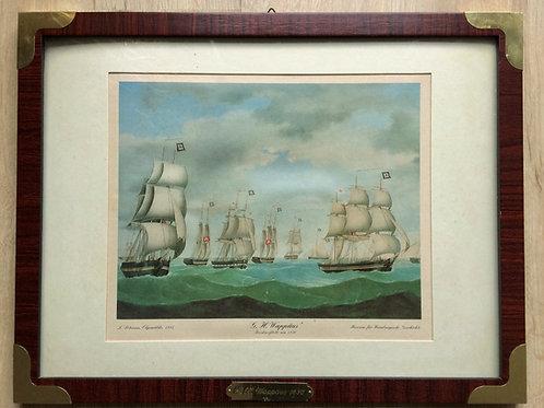 Maritimes Bild - G.H.Wappäus. Kunstdruck - Holzrahmen - Segelschiff Motiv