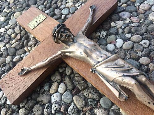 altes WANDKREUZ KREUZ Holz & Messing Metall INRI Kruzifix Jesus ca. 45cm