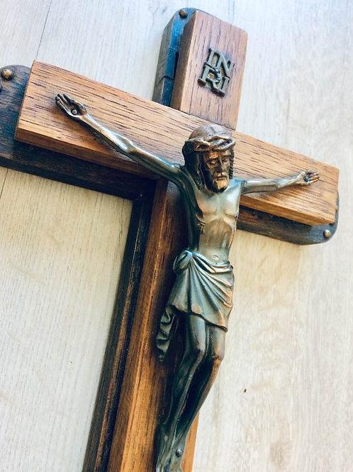 "Wandkreuz ""Doppeldecker""  Holz Kruzifix Jesus Figur Bronze 35 cm"
