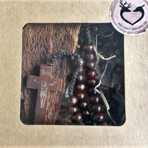 HOLZ ROSENKRANZ mit Holzperlen und Holz KRUZIFIX 47 cm