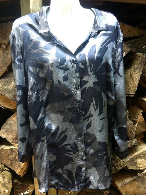 FRANK WALDER Bluse Größe 48 blau-grau Blumen Motiv 3/4 Arme