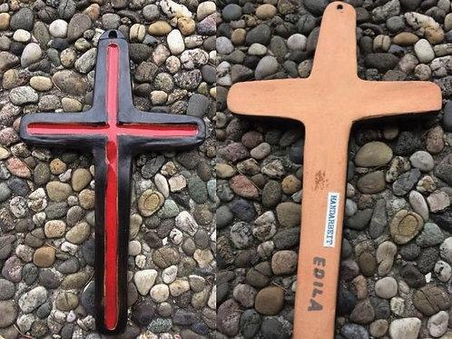 Kreuz Wandkreuz TON Emaille rot schwarz Handarbeit EDILA