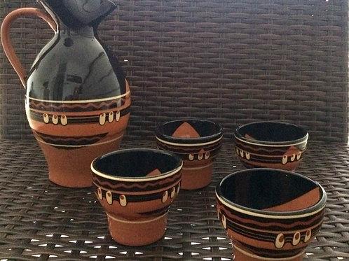 Medterranes Keramik Ton Service Weinset 1 Krug mit Henkel 4 Becher Terracotta neuwertig handbemalt