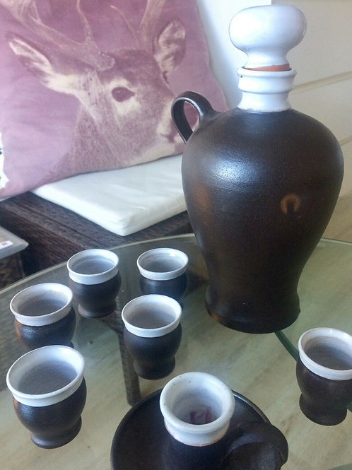 Vintage KERAMIK Set gemarkt EG 1Krug 6 Becher 1 Kerzenhalter
