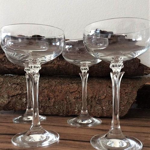 6 Vintage LIKÖRGLÄSER Likör Gläser Likörkelche Eierlikör Sherry langer Stiel langstielig Kristallglas Schliff am Stiel edel