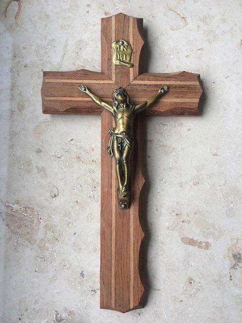 Altes, kleines Wandkkreuz KRUZIFIX   0 x 11  cm Holz- Metall